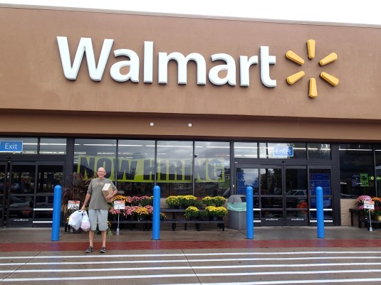 Shopping at Walmart in Glenwood Springs. (Yes, it's true; my friend Jim forgot his duffle bag and needed clothing, shoes, and a toothbrush.)
