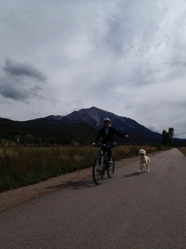 Exercising my dog on the Crystal Valley Trail beneath Mt. Sopris (12,953 feet high).