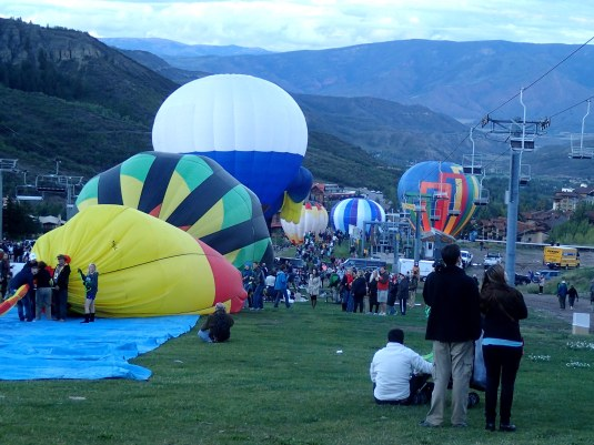The Night Glow portion of the Snowmass Balloon Festival on Fanny Hill (a ski run in Snowmass Village).
