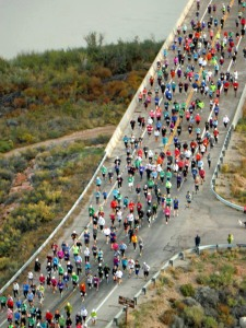This is Jim Forbes' photo taken from the ridge above Dewey Bridge. I'm in the lower right--black tights, pink vest--near the guy who's running in the wrong direction.