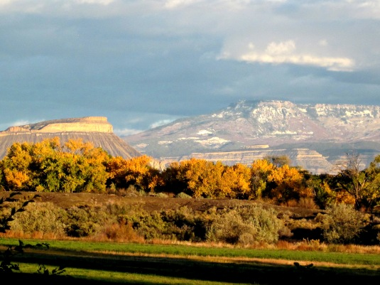 The Grand Valley, in the fall, with Mt. Garfield on the left and the Grand Mesa in the distance.