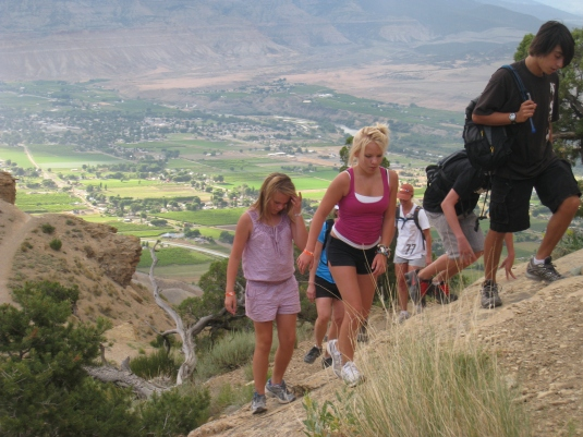 My daughters and friends climbing Mt. Garfield, high above the Grand Valley.