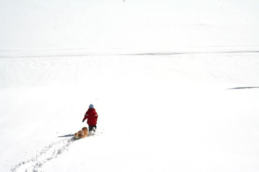 My daughter snowshoeing across Island Lake on the Grand Mesa.