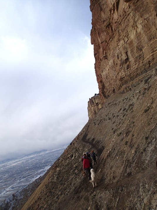 Our favorite section, walking along the cliff wall.